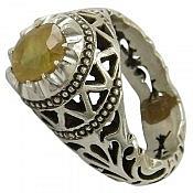 انگشتر نقره یاقوت آفریقایی زرد سلطنتی مردانه دست ساز