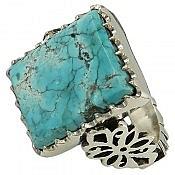 انگشتر نقره فیروزه نیشابوری درشت و ارزشمند مردانه