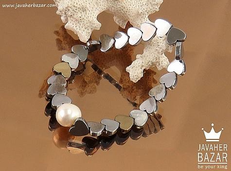 دستبند مروارید و حدید صینی طرح قلب زنانه