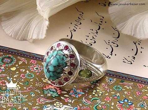 انگشتر نقره فیروزه نیشابوری زبرجد یاقوت آفریقایی شاهانه مردانه دست ساز - 34698