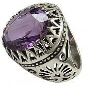 انگشتر نقره آمتیست شاهانه مردانه