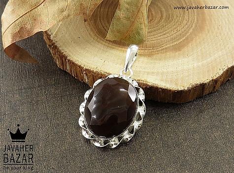 مدال نقره عقیق یمن تراش الماسی - 34889