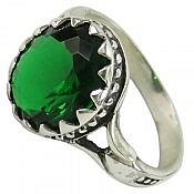 انگشتر نقره نگین سنتاتیک خوش رنگ و زیبا مردانه