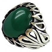 انگشتر نقره عقیق سبز رکاب طرح اشکی مردانه