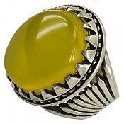 انگشتر نقره عقیق حکاکی شرف الشمس طرح سلطنتی مردانه