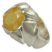 انگشتر نقره یاقوت آفریقایی زرد ارزشمند مردانه