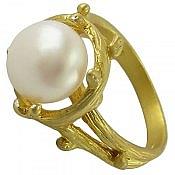 انگشتر نقره مروارید طلایی زنانه