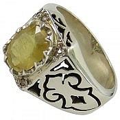 انگشتر نقره یاقوت آفریقایی زرد و برلیان اصل شاهانه مردانه