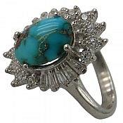 انگشتر نقره فیروزه نیشابوری طرح شادی زنانه