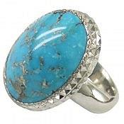انگشتر نقره فیروزه کرمانی رنگ طبیعی درشت و فاخر مردانه