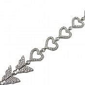 دستبند نقره طرح قلب و پروانه زنانه