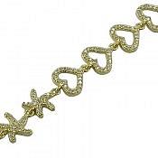 دستبند نقره طرح قلب و ستاره زنانه