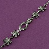 دستبند نقره طرح گوهر زنانه