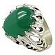 انگشتر نقره عقیق سبز رکاب دور اشکی مردانه
