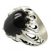 انگشتر نقره عقیق سیاه رکاب دور اشکی مردانه