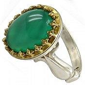 انگشتر نقره عقیق سبز طرح اشرافی مردانه