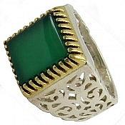 انگشتر نقره عقیق سبز طرح سلطنتی مردانه