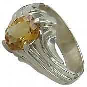 انگشتر نقره سیترین طرح سلطنتی مردانه