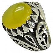 انگشتر نقره عقیق شرف الشمس درشت مردانه