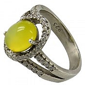 انگشتر نقره جید زرد شرف الشمس زنانه