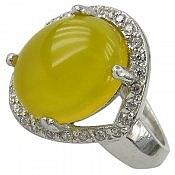 انگشتر نقره جید زرد حکاکی شرف الشمس زنانه