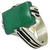انگشتر نقره عقیق سبز طرح کلاسیک مردانه