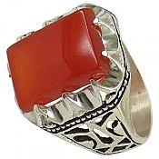 انگشتر نقره عقیق طرح شاهانه مردانه