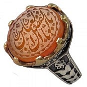 انگشتر نقره عقیق یمن شرف الشمس حکاکی یا اباالفضل العباس مردانه