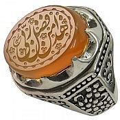 انگشتر نقره عقیق یمن شرف الشمس حکاکی هذا من فضل ربی مردانه