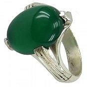 انگشتر نقره عقیق سبز چهار چنگ مردانه