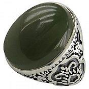 انگشتر نقره یشم یمن شاهانه مردانه