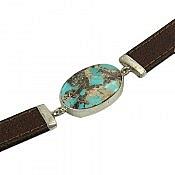 دستبند نقره چرم و فیروزه نیشابوری مردانه