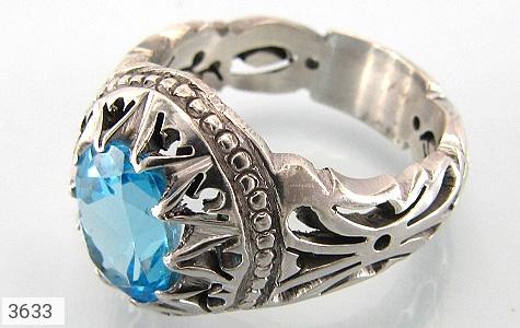 عکس انگشتر نقره توپاز آبی مرغوب مردانه