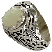 انگشتر نقره اپال شاهانه مردانه دست ساز