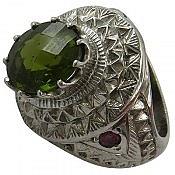 انگشتر نقره یاقوت زبرجد طرح شاهانه مردانه دست ساز