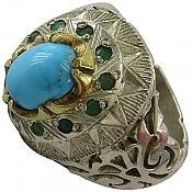 انگشتر نقره فیروزه نیشابوری زمرد شاهانه مردانه