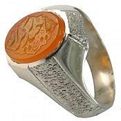 انگشتر نقره عقیق یمن شرف الشمس حکاکی یا حیدر کرار مردانه