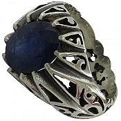 انگشتر نقره یاقوت کبود شاهانه مردانه