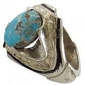 انگشتر نقره فیروزه نیشابوری فاخر مردانه دست ساز