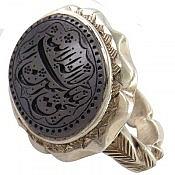 انگشتر نقره عقیق یمن کبود حکاکی لااله الا الله الملک الحق المبین مردانه