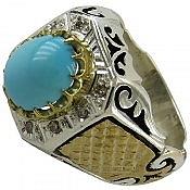 انگشتر نقره فیروزه نیشابوری کبود و برلیان اصل سلطنتی مردانه دست ساز