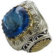 انگشتر نقره توپاز لندن و برلیان اصل سلطنتی مردانه