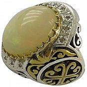 انگشتر نقره اپال اتیوپی و برلیان اصل شاهانه مردانه