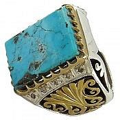 انگشتر نقره فیروزه نیشابوری و برلیان اصل لوکس و شاهانه مردانه دست ساز