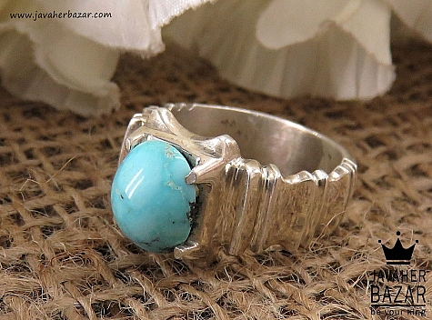 انگشتر نقره فیروزه نیشابوری شاهانه مردانه دست ساز