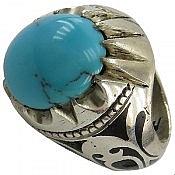 انگشتر نقره فیروزه مصری طرح سلطنتی مردانه