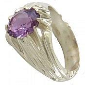 انگشتر نقره آمتیست شاهانه مردانه دست ساز