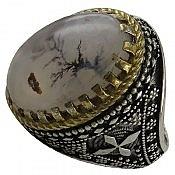 انگشتر نقره عقیق شجر خوش نقش و فاخر مردانه
