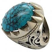انگشتر نقره فیروزه مصری شاهانه مردانه دست ساز