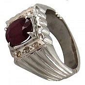 انگشتر نقره یاقوت آفریقایی سرخ و برلیان اصل شاهانه مردانه